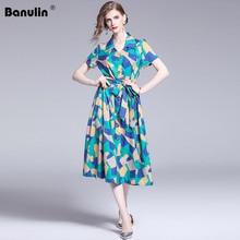 Banulin 2019 Summer Women Runway Bohemian Boho Style Vintage Retro Block Color Striped Geometric Floral Print Midi Dress