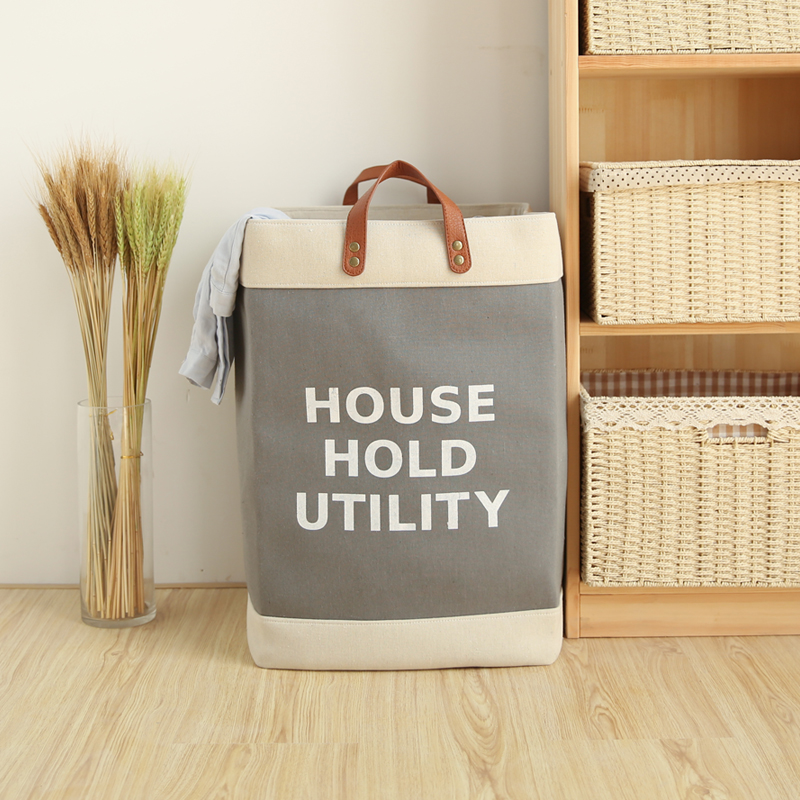 Household Clothing Organizer Fordable Canvas Laundry Basket Storage Hamper Dirty Clothes Bucket Collapsible Laundry Bin