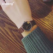 Luxury Vintage Gold Silver Classic Genuine Leather Quartz Dress Wrist Watch Wristwatches for Women Female Black Brown