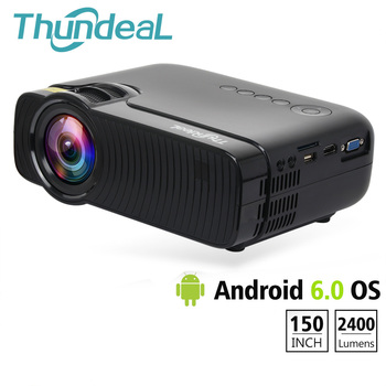 ThundeaL TD30 Projetor 2400 Lumen Mini Android 6.0 WiFi Projetor LED HD de Vídeo HDMI VGA Suporte 1080 p Jogo de Festa filme 3D Proyector