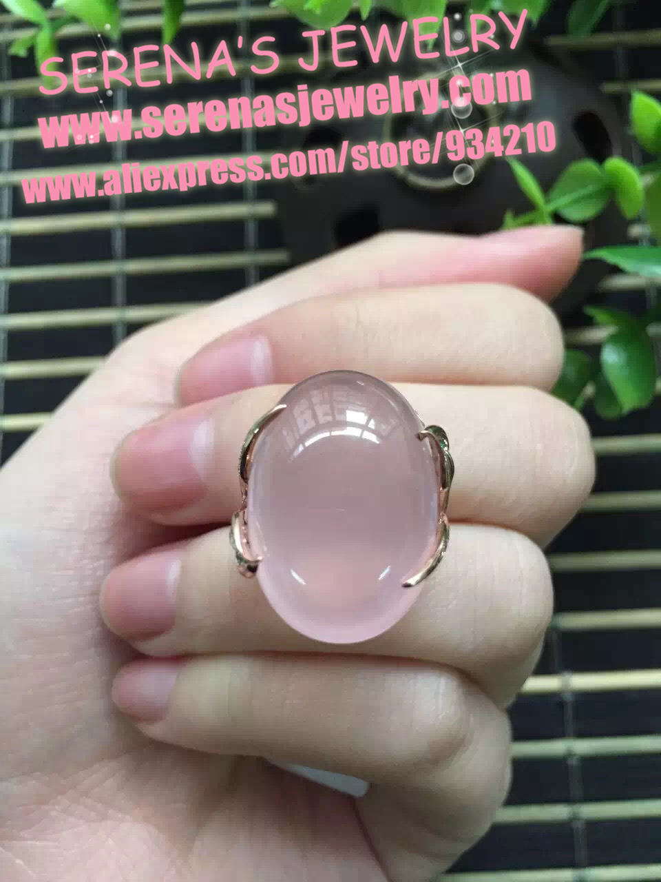 15.5*22.5mm 26.6ct fine jewelry perfect 18k gold perfect highest grade pink rose quartz ring for women