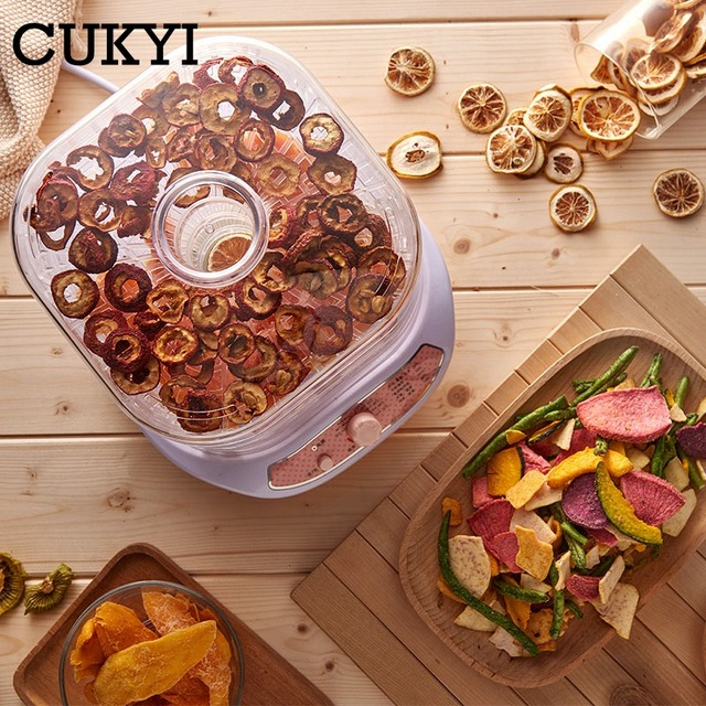 CUKYI Dried Fruit Vegetables Herb Meat Machine Household MINI Food Dehydrator Pet Meat Dehydrated 5 trays Snacks Air Dryer EU US Appliances Consumer Electronics