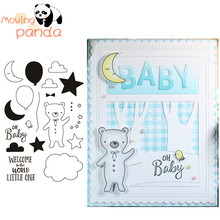 2019 Baby Bear Metal Cutting Dies and Clear Stamps for Scrapbooking DIY Card Making Crafts Stencil
