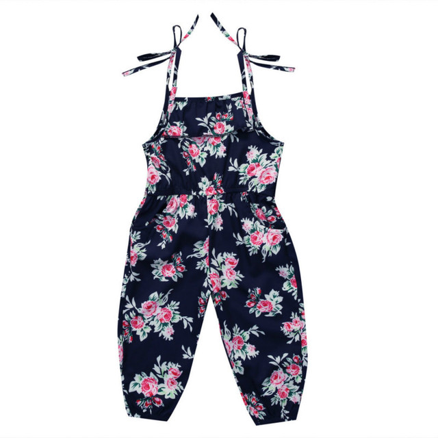 8a01136cd842 2-6Y Toddler Baby Girls Kids Floral Ruffles Sleeveless Halter Rompers  Jumper Jumpsuit Playsuit Outfits Sunset Summer Clothes NEW