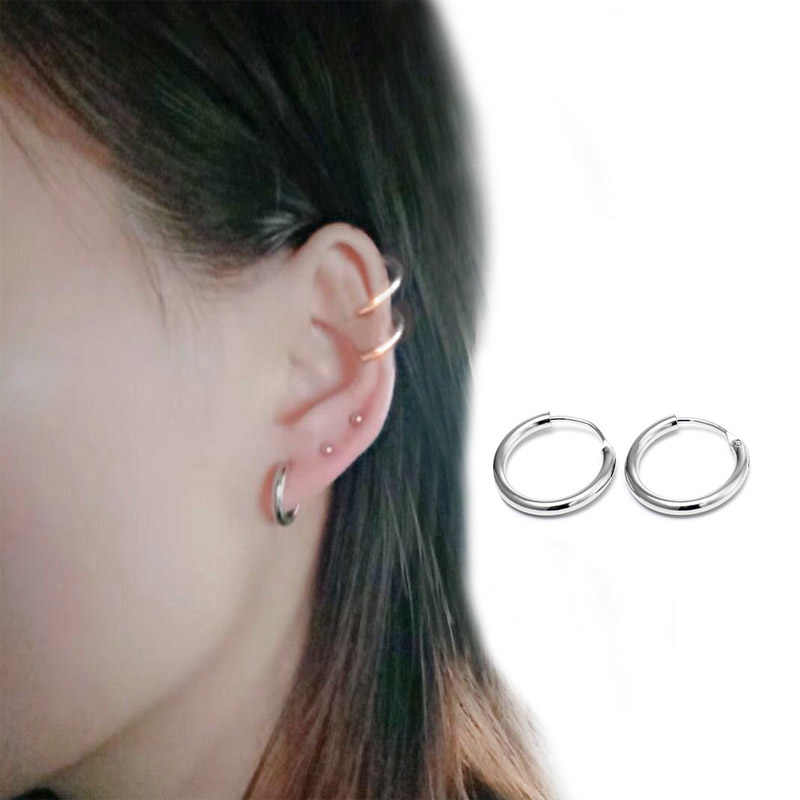 Silver Color 1 Pair Small Hoop Earrings Silver Stainless Steel Circle Hoop Earring for Women Men Ear Rings Clip Huggie Earrings