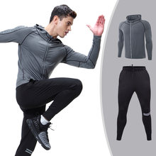 Men's Sportswear Running Set Sports Set jogging Suits Clothes Tracksuit Zipper Coat And Pants Gym Traning Fitness Set 2pcs/Sets(China)