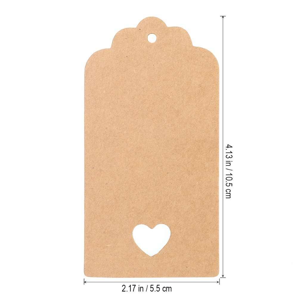 100 stücke Hohl Herz Scalloped Kraft Papier Karte/Blank Tag/Hochzeits-bevorzugung Geschenk Tag Preis Label mit 10M Seil