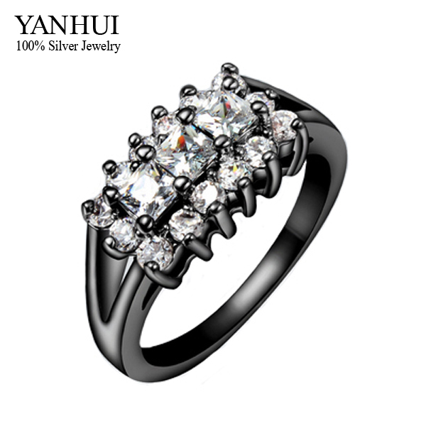 YANHUI New Trendy Unique Black Gold Filled Top CZ Diamond Zircon Engagement Wedding Rings For Women Fashion Jewelry Africa YR028
