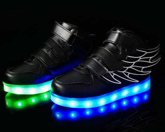 YPYUNAเด็กรองเท้ารองเท้าผ้าใบเรืองแสงledรองเท้าแตะตะกร้าledเด็กlight upรองเท้าทารกส่องสว่างรองเท้าผ้าใบเด็กสาวเด็ก