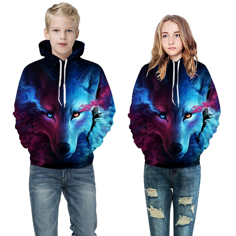 Wolf 3D Print Boys Girls Hoodies Winter Autumn Outerwear Kids Hooded Sweatshirts Childres Long Sleeve Pullover Tops(China)