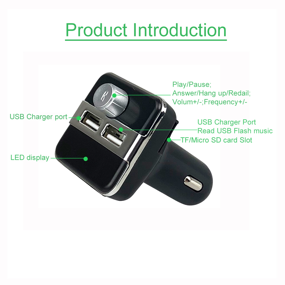 JINSERTA Car MP3 Music Player 2 USB Car Charger Wireless FM Transmitter Handsfree Call Bluetooth Car Kit Support TF Card