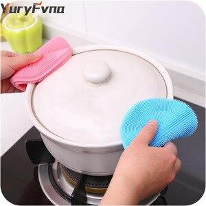 Image 3 - Yuryfvna Siliconen Schotel Spons Antibacteriële Keuken Scrubber Groente Fruit Borstel Spons Afwasborstel Pot Houder