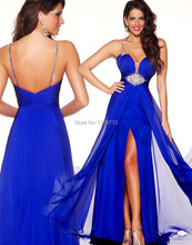 Elegante lange abendkleider 2015 sexy spaghetti-bügel-sleeveless luxus kristall blau chiffon kleid für silvester vestidos largos