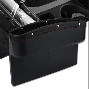 Image 1 - Органайзер для автомобильного сиденья, кожаный ящик для хранения автомобильного сиденья, консоль, боковой карман с нескользящим ковриком для сотового телефона, кошелек, карта для ключей от монет