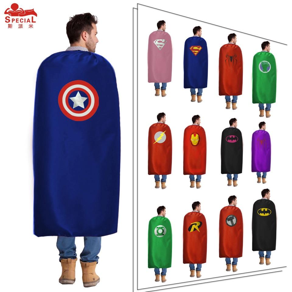 D Q Z 140 90 cm Light Satin Fabric Man Superhero Cosplay Cape Eye Mask Costumes
