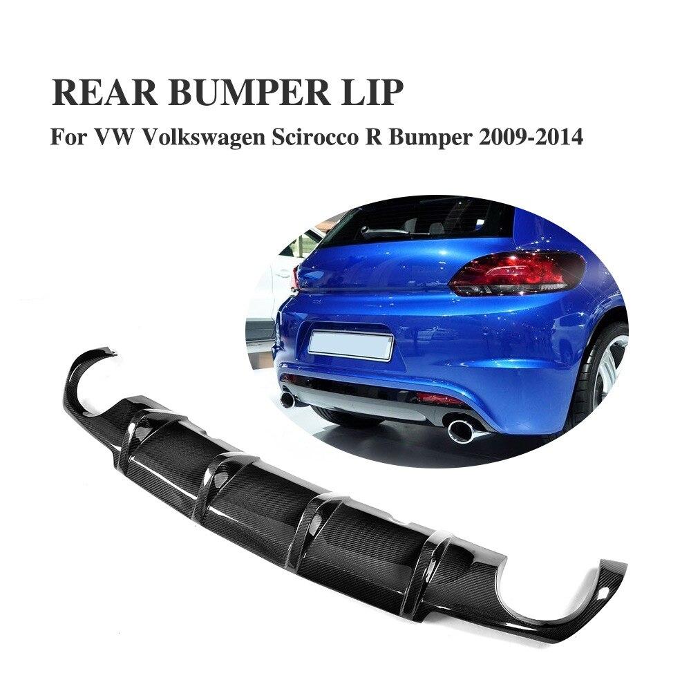 Carbon Fiber Rear Bumper Lip Diffuser Spoiler Fit for VW Volkswagen Scirocco R Bumper 2009 2014 dual exhaust one outlet