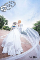 Fate/Zero TYPE Moon10 saber arturia pendragon White wedding dress Lolita Uniform Skirt Cosplay Costume Any Size NEW