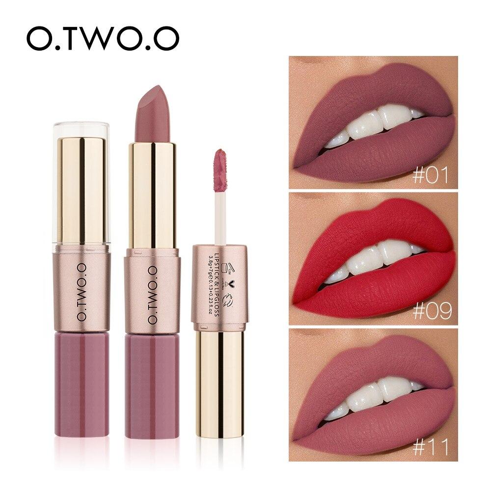 O.TWO.O 2 en 1 mat Rouge à lèvres maquillage cosmétiques imperméable Pintalabios Batom Mate brillant à lèvres Rouge 12 couleurs choisir