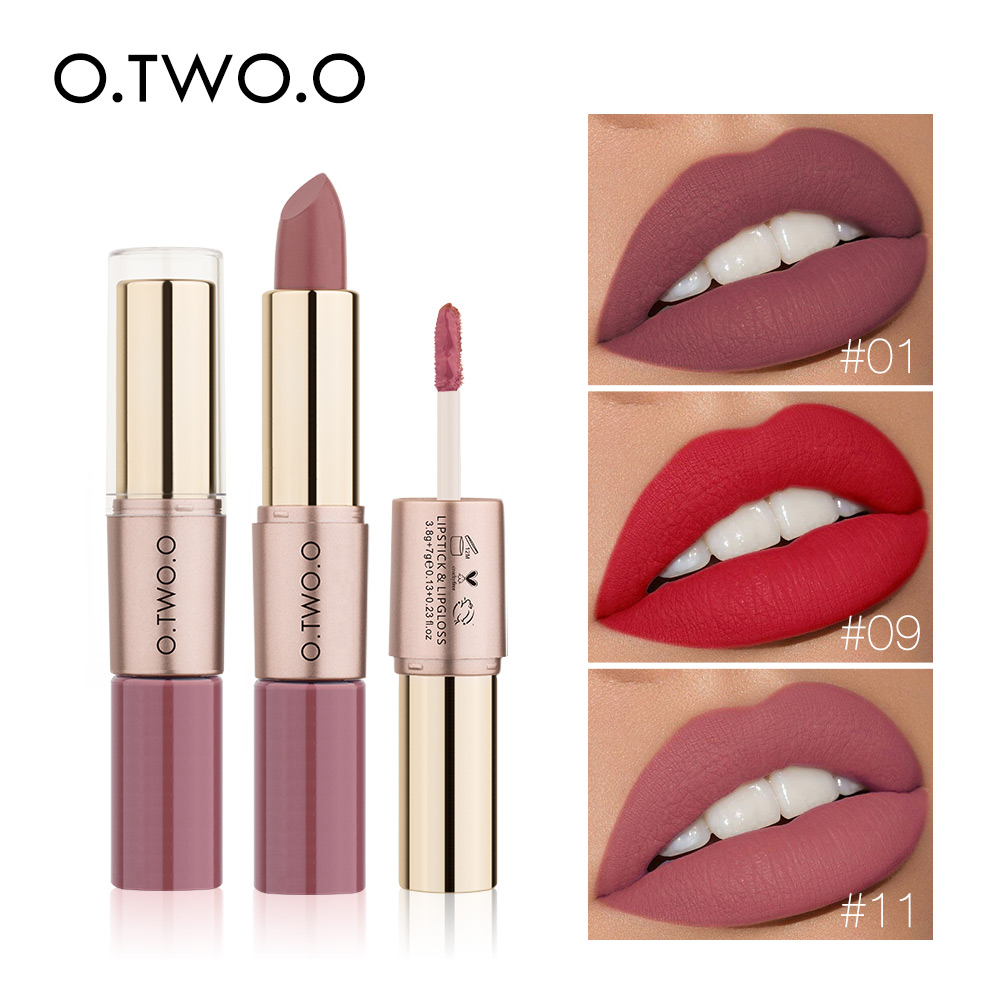 O.TWO.O 2 In 1 Matte Lipstick Lips Makeup Cosmetics Waterproof Pintalabios Batom Mate Lip Gloss Rouge 12 Colors Choose
