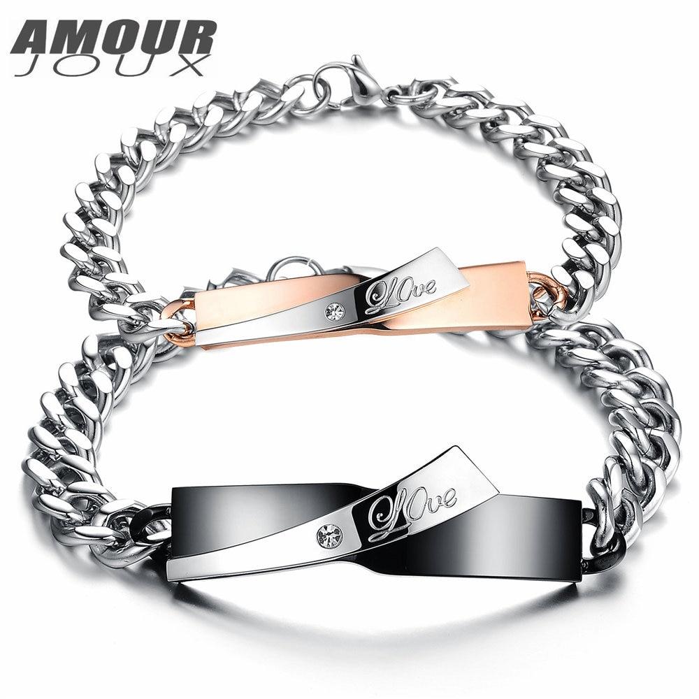 Black Color Love Engraved Charm Bracelets For Women  Men Stainless Steel Link