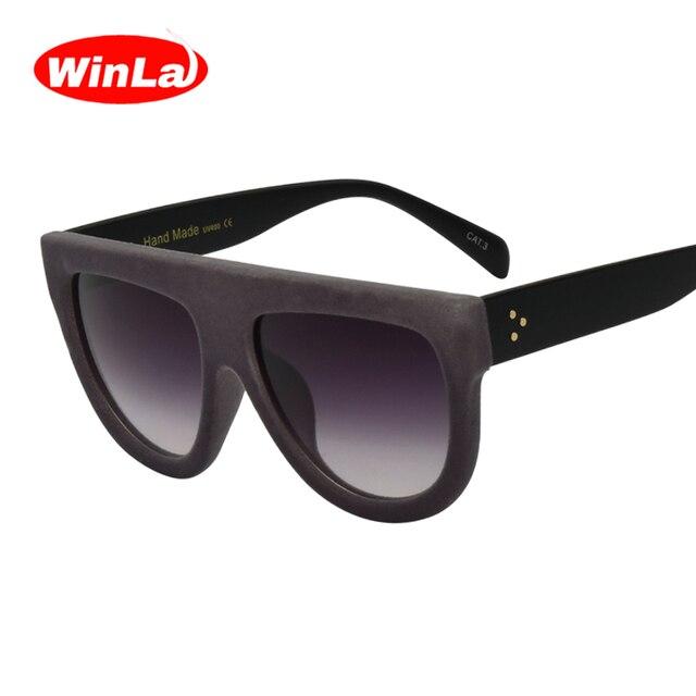 68ce8021de Winla Gafas de sol Vendimia Diseñador de marca Plana de Terciopelo de Gafas  de sol de