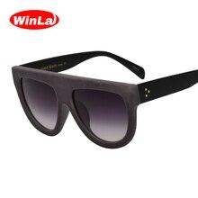 Winla Gafas de sol Vendimia Diseñador de marca Plana de Terciopelo de Gafas  de sol de Terciopelo Lentes de Gradiente Mujeres Rem. 82ea585e7d83