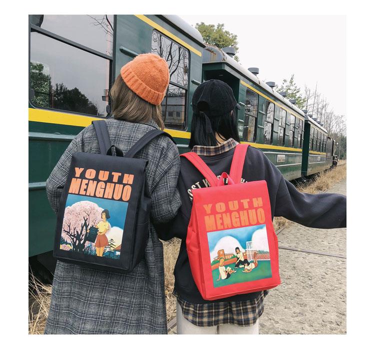 Menghuo Women Backpacks Animation Figure Printed Girls Students School Shoulder Bag for Teenage Girls Backpack Ladies Mochilas--_31