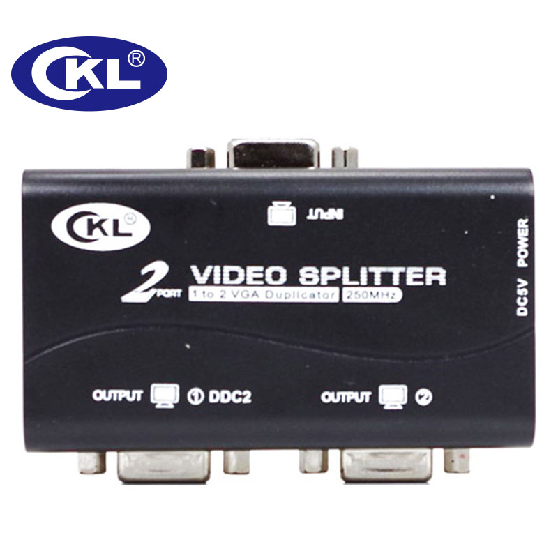 CKL 2 Or 4 Port Black VGA Splitter Duplicator Support DDC DDC2 DDC2B USB Powered Transmission Up To 60M Wall Mountable ABS Case