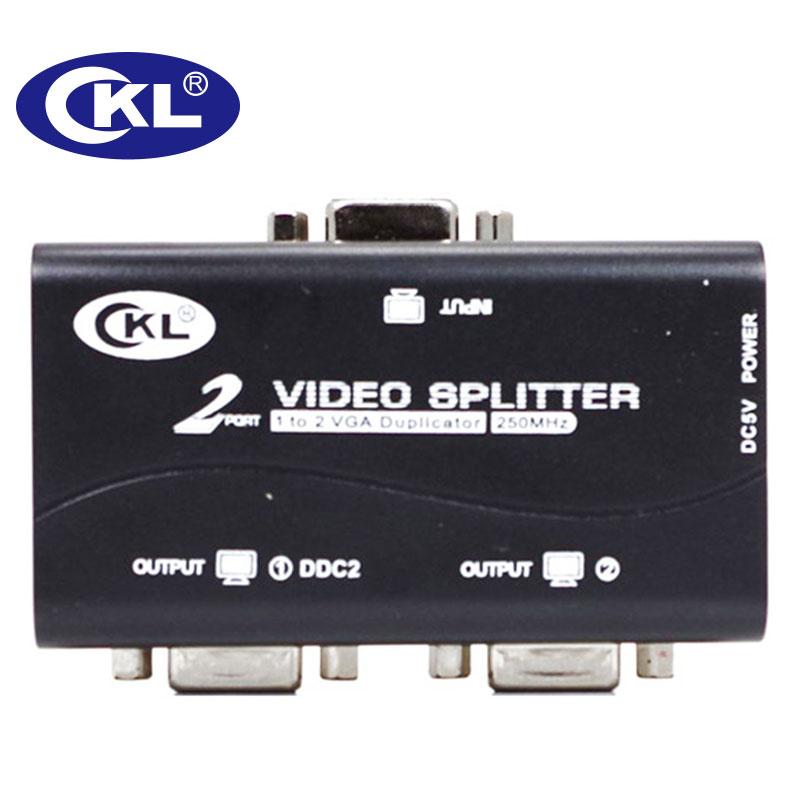 CKL 2 Or 4 Port Black VGA Splitter Duplicator Support DDC DDC2 DDC2B USB Powered Transmission Up To 60M Wall Mountable ABS Case