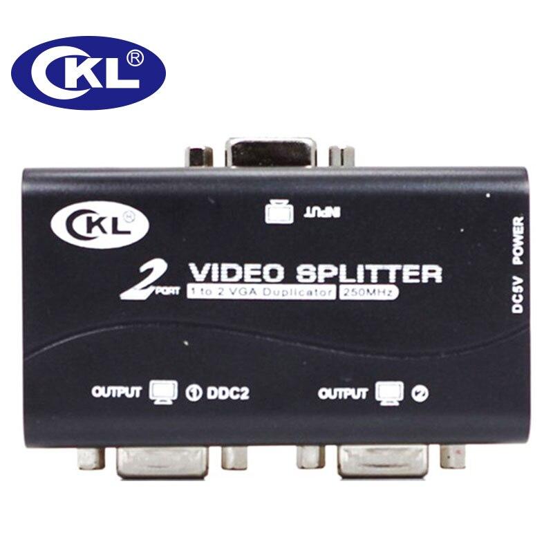 CKL 2 ou 4 Port Noir VGA Splitter Duplicateur Soutien DDC DDC2 DDC2B USB Alimenté Transmission Jusqu'à 60 M Montage Mural ABS cas