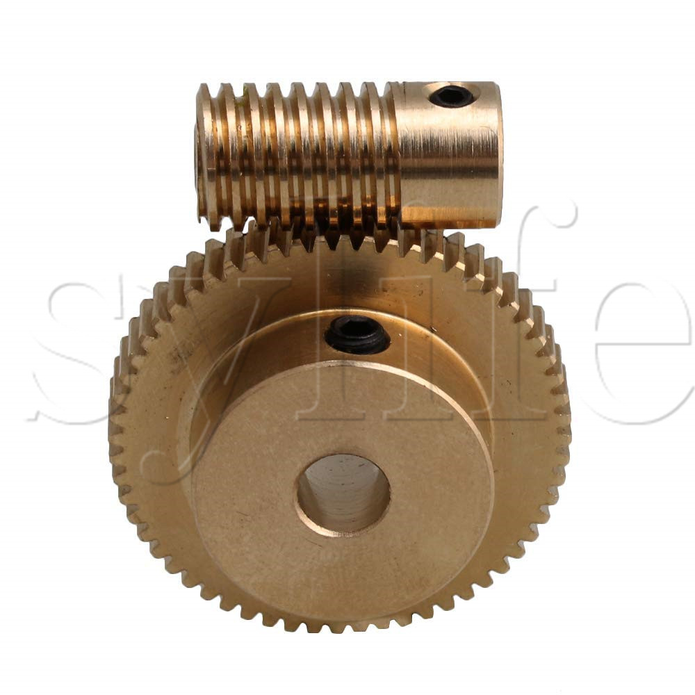 Yellow 4MM Hole Dia Brass Worm Gear Shaft & 31MM 0D 60 Teeth Brass Worm Gear Wheel 0.5 Modulus Set