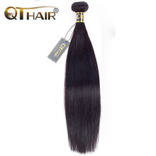 Peruvian Straight Hair Bundles Human Weave Need Buy 1/3/4 Pieces 8-28 Inch Natural Black QThair Non Remy Hair Extensions(China)