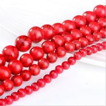 1 Strand Natural Stone Red Howlite Stone Beads Round Loose Beads Ball