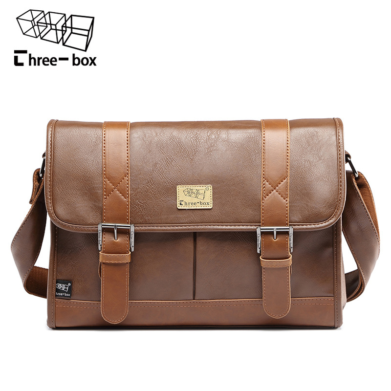 Three-box Brand Famous Men's Shoulder Bags Business Large Capacity Leather Crossbody Bag Vintage Men Messenger Bags Briefcase three box brand men leather casual large capacity messenger bag man vintage crossbody shoulder bag busines travel bags bolsas