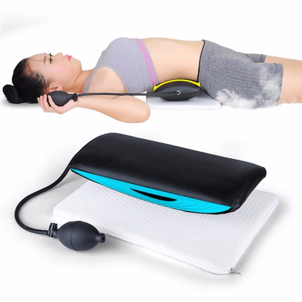 Manual Inflatable Spine Pain Relief Back Massage Cushion Lumbar Traction Stretching Device Waist Spine Relax Health Care 2017 hot new adjustable lumbar massage device back waist spine massager beauty slimmer body stick tool health care