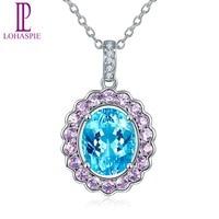 Lohaspie Solid 14K White Gold Natural Gemstone Aquamarine Sapphire Diamonds Pendant Necklace For Women Fine Jewelry