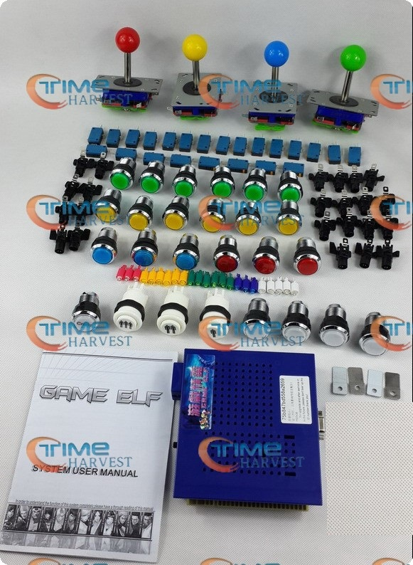 Arcade parts Bundles kit With Joystick Pushbutton Microswitch Player button 1033 in 1 Game PCB to Build Up 3 Side Arcade Machine arcade parts bundles kit with american joystick microswitch button 2 players usb to jamma pc board to diy arcade machine free