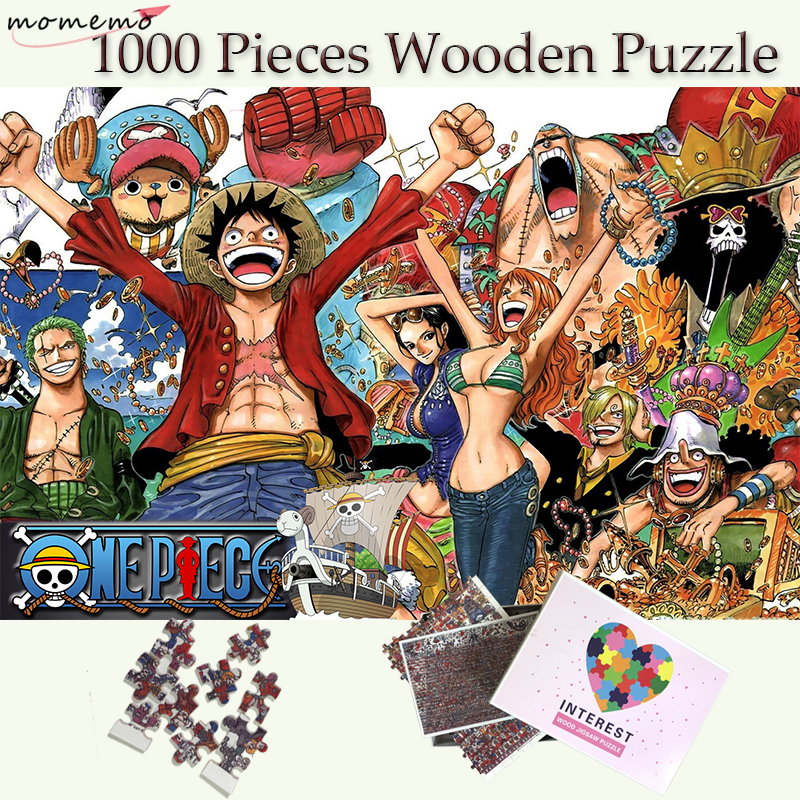 MOMEMO One Piece 1000 Pieces Jigsaw Puzzles Straw Hat Pirate Group of People Puzzle for Adults Wooden Puzzle Games Child Puzzle