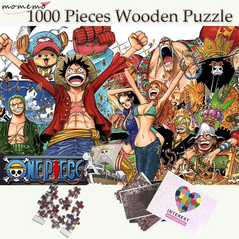 MOMEMO One Piece 1000 Pieces Puzzles paille chapeau Pirate groupe de personnes Puzzle pour adultes en bois Puzzle jeux enfant PuzzleMOMEMO One Piece 1000 Pieces Puzzles paille chapeau Pirate groupe de personnes Puzzle pour adultes en bois Puzzle jeux enfant Puzzle
