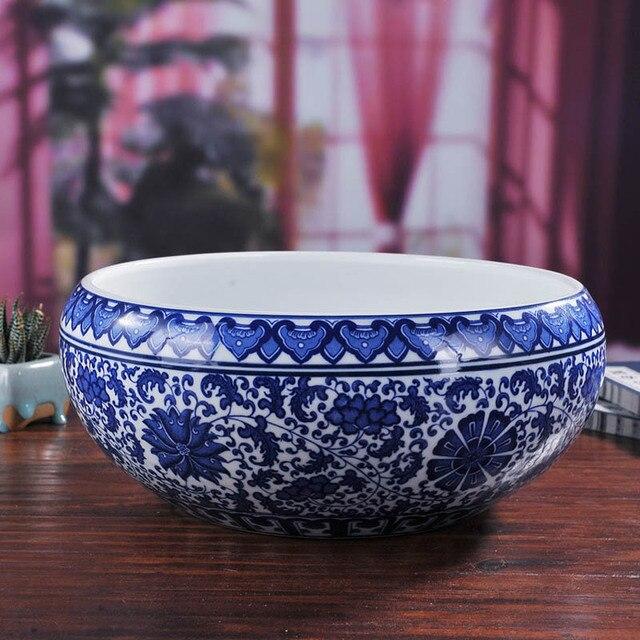 Blue And White Ceramic Porcelain Flower Plant Nursery Pot Bowl W Fl Pattern For