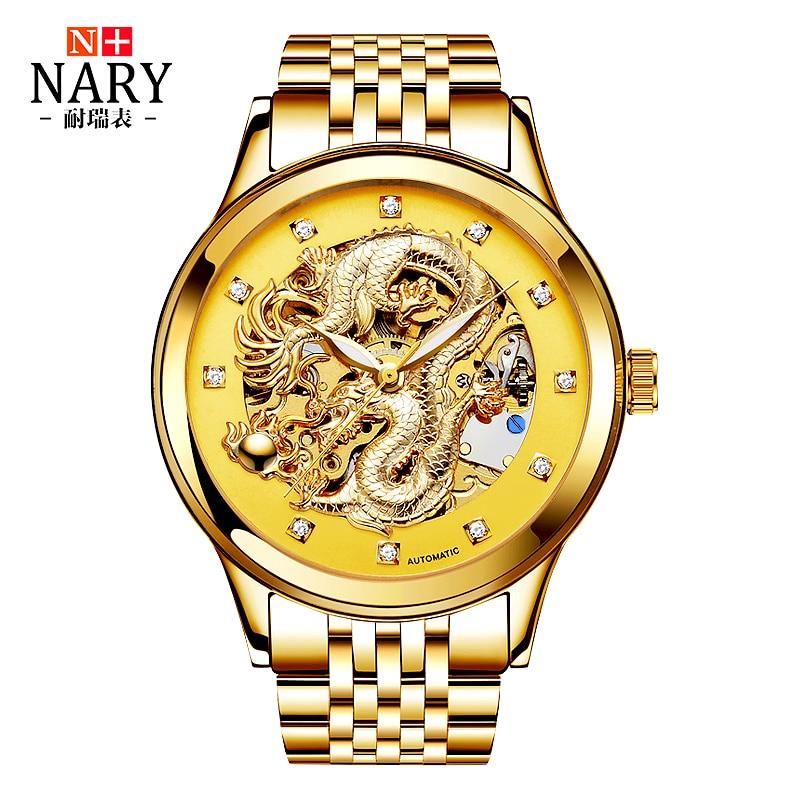 Anniversary Edition NARY Gold Watches font b Men b font 3D China Dragon font b Mechanical