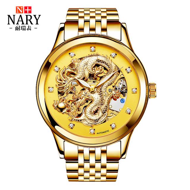 Edição de aniversário nary relógios de ouro homens 3d china dragão strass homens relógio esqueleto mecânico relógio de pulso à prova d' água 50 m