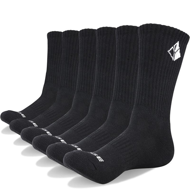 YUEDGE Six Pairs Cotton Cushion Crew Socks Athletic Sports Training Workout Running Walking sport socks skateboard