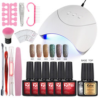 YIFEI Glitter Nail Gel With Nails Accessoires Soak Off LED Nail Light Manicure Sets For Gel Varnish Top Coat Gel Nail Polish Kit