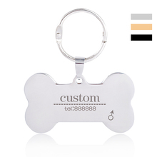 Free Engraving Name Stainless Steel Personalized Cat Dog Name Telephone Tag Pet Collar Accessories Dog ID Tag Without Collar