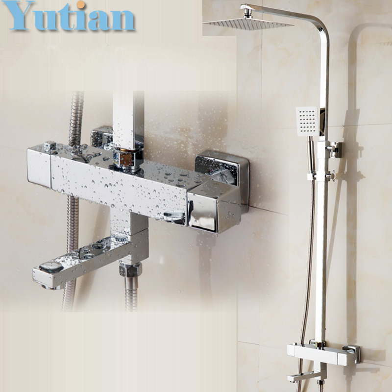Free Shipping Wall Mounted Two Handle Thermostatic Shower faucet Thermostatic mixer , Shower Taps Chrome Finish,YT-5334 wall mount 10 inch thermostatic bathroom shower faucet mixer taps dual handle with hand held shower chrome finish