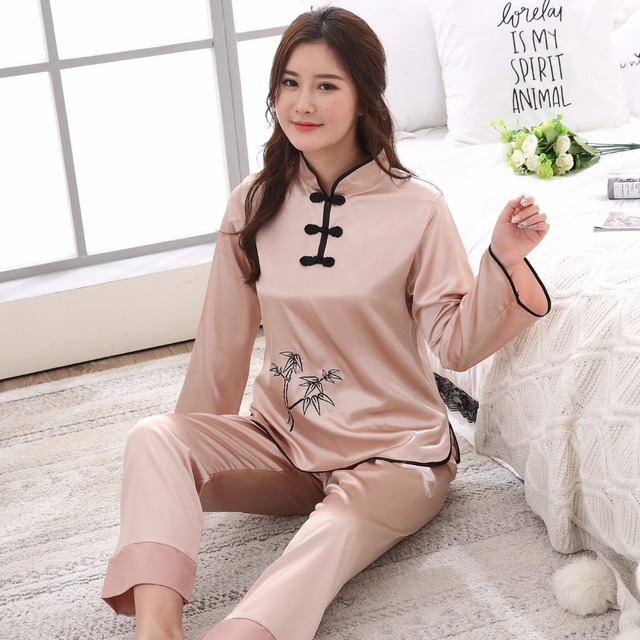 af7b85df86 Women Long Sleeve Shirt Full Pant Pajamas Set Chinese Style Satin 2PCS Pyjamas  Suit Girl Vintage Button Soft Sleepwear M-XXL