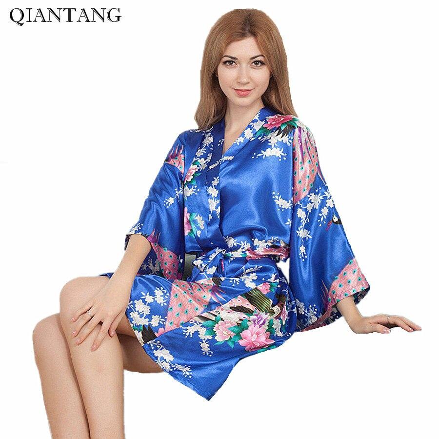 Top Selling Blue Womens Kimono Short Robe Bathgown Sleepwear Rayou Bath Gown Mini Nightgown Mujer Pijama One Size Mys009
