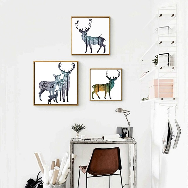 Deer Canvas Painting Wall Decor Magic Pictures For Dream House Watercolor Background Geometric