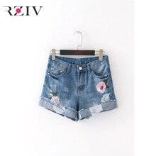 RZIV 2017 женские джинсы случайные чистый цвет Джинсовые шорты цветы вышитые отверстия джинсы